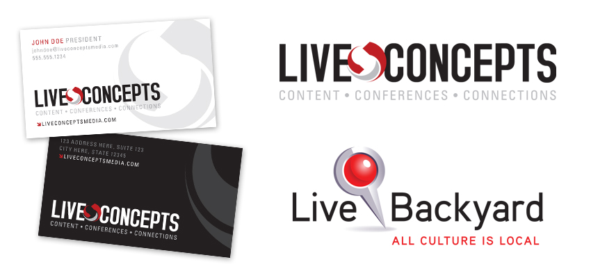 live concepts logos and biz card
